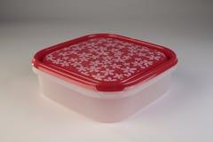 Contenitore di plastica di alimento con il coperchio variopinto Fotografia Stock