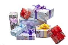 Contenitore di regali variopinto isolato Immagini Stock
