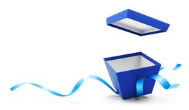 Contenitore di regalo aperto del blu con il nastro Immagini Stock Libere da Diritti