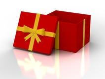 Contenitore di regalo aperto di colore rosso Fotografia Stock