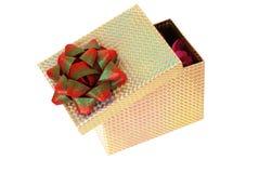 Contenitore di regalo aperto isolato Immagini Stock
