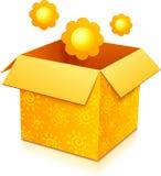 Contenitore di regalo arancio di vettore con i fiori gialli Immagine Stock