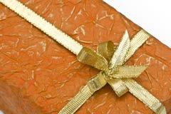 Contenitore di regalo arancione fotografie stock libere da diritti