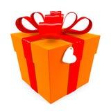 Contenitore di regalo arancione con il nastro rosso Immagini Stock
