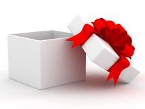 Contenitore di regalo bianco. fotografie stock