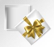 Contenitore di regalo bianco con il nastro dell'oro e l'arco - illustrazione di vettore di vista superiore Illustrazione realisti royalty illustrazione gratis