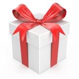 Contenitore di regalo bianco con l'arco rosso del nastro Immagini Stock