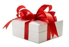 Contenitore di regalo bianco isolato su fondo bianco Fotografia Stock