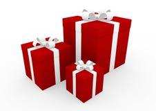 contenitore di regalo bianco rosso 3d Immagini Stock Libere da Diritti