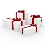 contenitore di regalo bianco rosso 3d Fotografie Stock