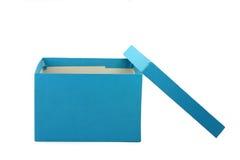 Contenitore di regalo blu Fotografia Stock