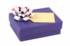 Contenitore di regalo blu fotografia stock libera da diritti