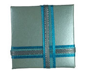 Contenitore di regalo blu Immagine Stock