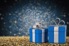 Contenitore di regalo blu con spazio Fotografia Stock Libera da Diritti