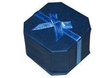 Contenitore di regalo blu dei monili Fotografia Stock