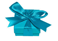 Contenitore di regalo blu del nastro blu Fotografie Stock