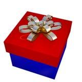 Contenitore di regalo blu e rosso con l'arco dorato, 3d Immagini Stock Libere da Diritti