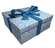 Contenitore di regalo blu - nastro blu Fotografia Stock Libera da Diritti