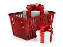 Contenitore di regalo in cestino della spesa rosso su fondo bianco 3D isolato Immagini Stock