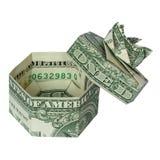 CONTENITORE di REGALO con gli origami dei soldi del coperchio immagine stock libera da diritti