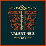 Contenitore di regalo con i cuori il giorno dei biglietti di S. Valentino Fotografia Stock Libera da Diritti