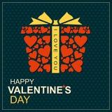 Contenitore di regalo con i cuori il giorno dei biglietti di S. Valentino Fotografia Stock