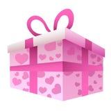 Contenitore di regalo con i cuori rosa Fotografia Stock Libera da Diritti