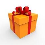 Contenitore di regalo con i nastri rossi Immagine Stock