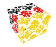 Contenitore di regalo con i reticoli floreali variopinti Fotografia Stock