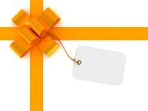 Contenitore di regalo con il contrassegno in bianco Fotografia Stock Libera da Diritti