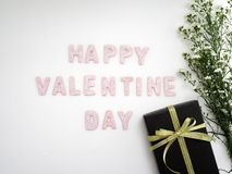 Contenitore di regalo con il giorno di biglietti di S. Valentino dei fiori immagini stock