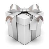 Contenitore di regalo con il nastro d'argento Fotografie Stock Libere da Diritti