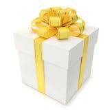 Contenitore di regalo con il nastro e l'arco gialli illustrazione di stock