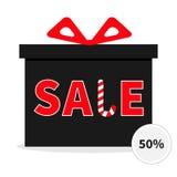 Contenitore di regalo con il nastro e l'arco Giftbox attuale Grande pubblicità di Buon Natale di vendita Fotografie Stock Libere da Diritti