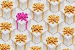 Contenitore di regalo con il nastro rosa fra molti gialli, dell'arco rappresentazione 3d illustrazione vettoriale