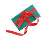 Contenitore di regalo con il nastro rosso Immagini Stock Libere da Diritti