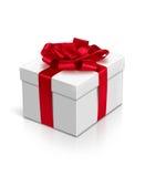 Contenitore di regalo con il nastro rosso e l'arco isolati su bianco, picchiettio di taglio fotografia stock