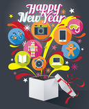 Contenitore di regalo con il testo del buon anno e le varie icone Immagine Stock