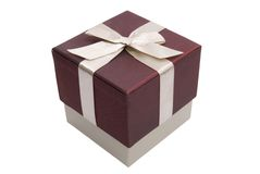 Contenitore di regalo con l'arco Fotografie Stock