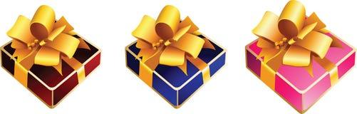 Contenitore di regalo con l'arco del nastro Immagini Stock