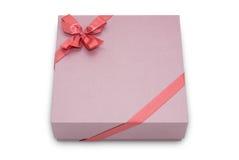 Contenitore di regalo con l'arco del nastro Fotografia Stock