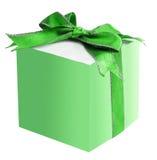 Contenitore di regalo con l'arco del nastro del raso Fotografia Stock