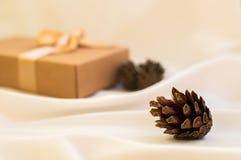 Contenitore di regalo con l'arco dell'oro con le palle di natale ed abete rosso del cono su w Fotografie Stock Libere da Diritti