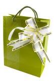 Contenitore di regalo con l'arco isolato su bianco Fotografia Stock Libera da Diritti