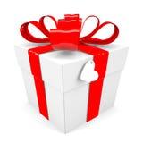Contenitore di regalo con l'arco rosso del nastro Immagini Stock