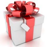 Contenitore di regalo con l'arco rosso del nastro sul BAC bianco Fotografia Stock Libera da Diritti