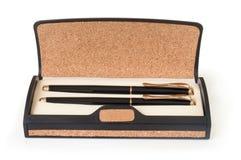 Contenitore di regalo con la penna due Fotografie Stock