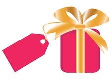 Contenitore di regalo con laber per il vostro testo Fotografia Stock