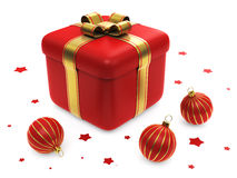 Contenitore di regalo con le sfere a strisce rosse di natale Fotografie Stock Libere da Diritti