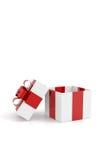 Contenitore di regalo con luce su fondo bianco Fotografie Stock